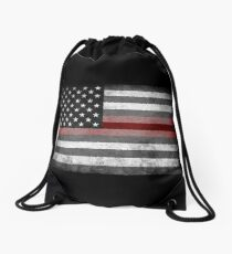 The Thin Red Line - American Firefighter Drawstring Bag
