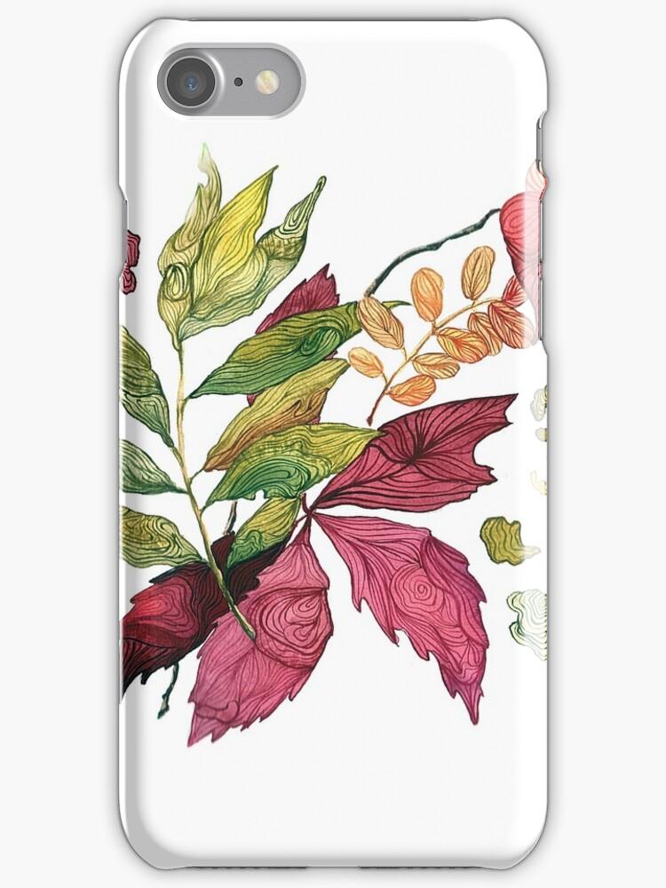 Autumn leaves, watercolor illustration by Julia Hromova