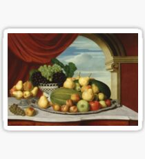John Vanderlyn - Still Life Fruit In A Classical Setting 1858. Still life with fruits and vegetables: fruit, vegetable, grapes, tasty, gastronomy food, flowers, dish, cooking, kitchen, vase Sticker