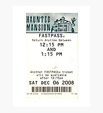 Haunted Mansion Fastpass Photographic Print