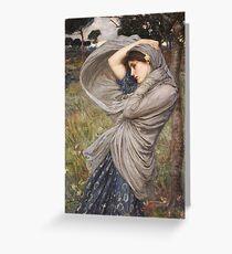 John William Waterhouse - Boreas . Woman portrait: sensual woman, girly art, female style, pretty women, femine, beautiful dress, cute, creativity, love, sexy lady, erotic pose Greeting Card