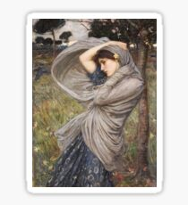 John William Waterhouse - Boreas . Woman portrait: sensual woman, girly art, female style, pretty women, femine, beautiful dress, cute, creativity, love, sexy lady, erotic pose Sticker