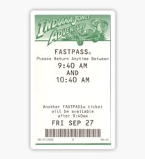 Indiana Jones Adventure Fastpass Sticker