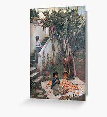 John William Waterhouse - The Orange Gatherers . Garden landscape: garden view, trees and flowers, blossom, nature, botanical park, floral flora, wonderful flowers, plants, cute plant, garden, flower Greeting Card