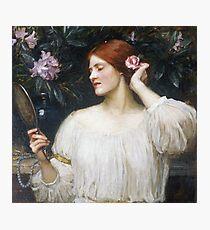 John William Waterhouse - Vanity.  Woman portrait: sensual woman, girly art, female style, pretty women, femine, beautiful dress Photographic Print