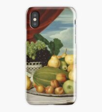 John Vanderlyn - Still Life Fruit In A Classical Setting 1858. Still life with fruits and vegetables: fruit, vegetable, grapes, tasty, gastronomy food, flowers, dish, cooking, kitchen, vase iPhone Case/Skin