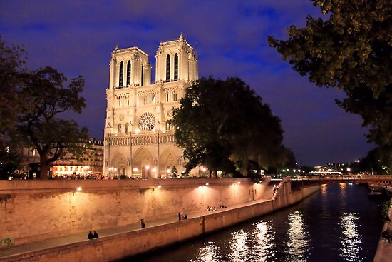 Brilliant Notre Dame from the River by Rosalee Lustig