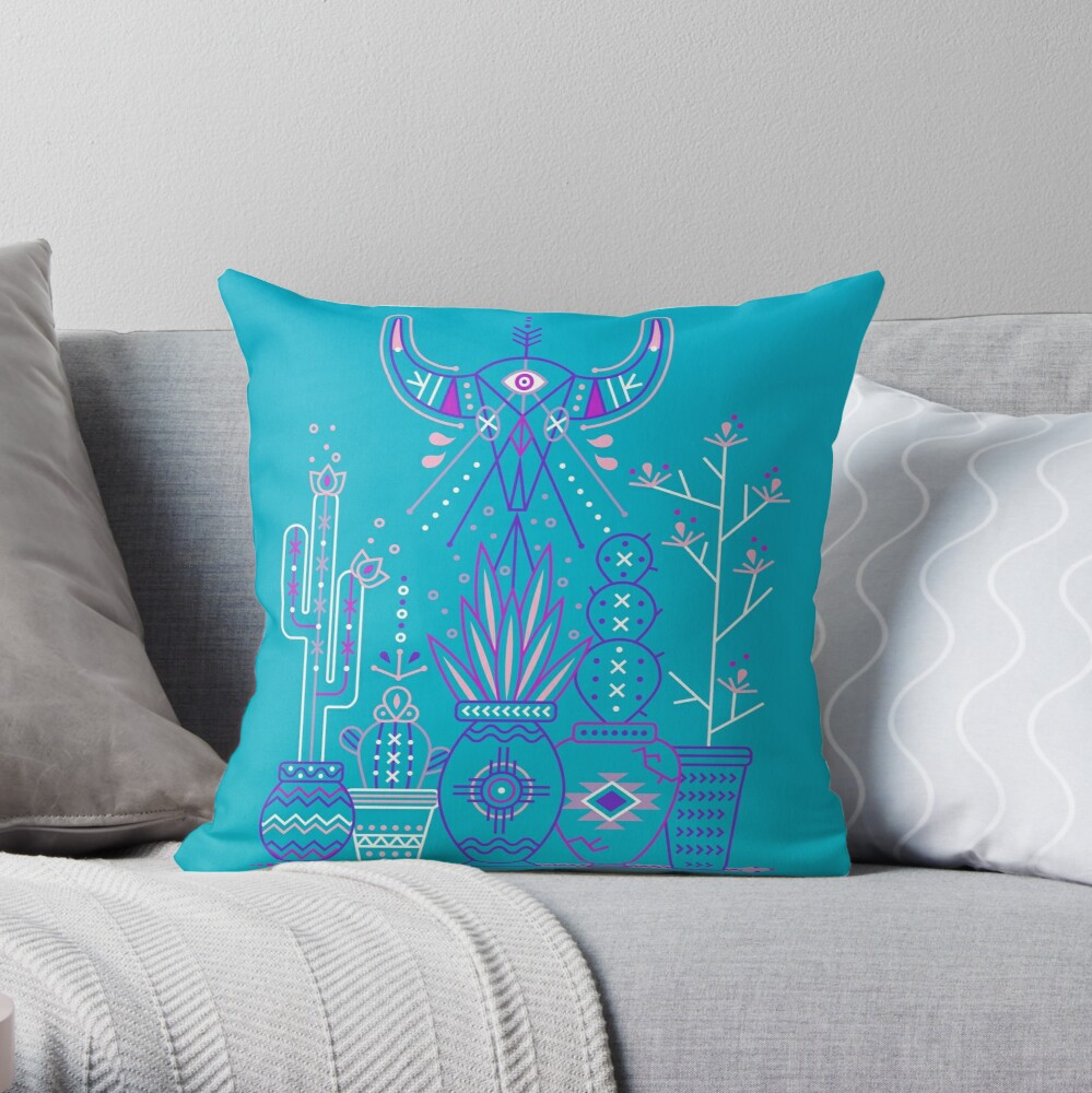 Santa Fe Garden - Blau und Lila Dekokissen