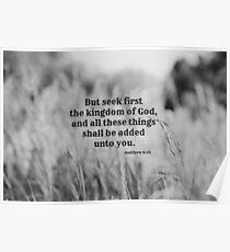 Matthew 6 Seek First Poster