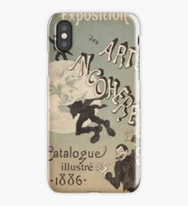 Jules Cheret - Cover Illustration For Exposition Des Arts Incoherents. People portrait: party, man, people, family, male, peasants, crowd, romance,  men, city, home society iPhone Case/Skin