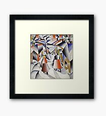 Kazimir Malevich - Morning In The Village After Snowstorm. Abstract painting: abstract art, winter, village, snowstorm, lines, forms, creative fusion, spot, shape, illusion, fantasy future Framed Print