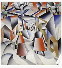 Kazimir Malevich - Morning In The Village After Snowstorm. Abstract painting: abstract art, winter, village, snowstorm, lines, forms, creative fusion, spot, shape, illusion, fantasy future Poster