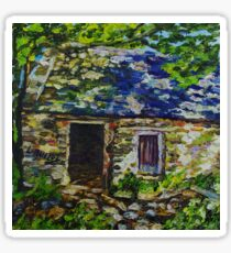 In the Shadows, Ruined Cottage on the Vianstown Road, Townland of Ballyvange, County Down., Oil and acrylic on canvas., 8 x 8 inch Sticker