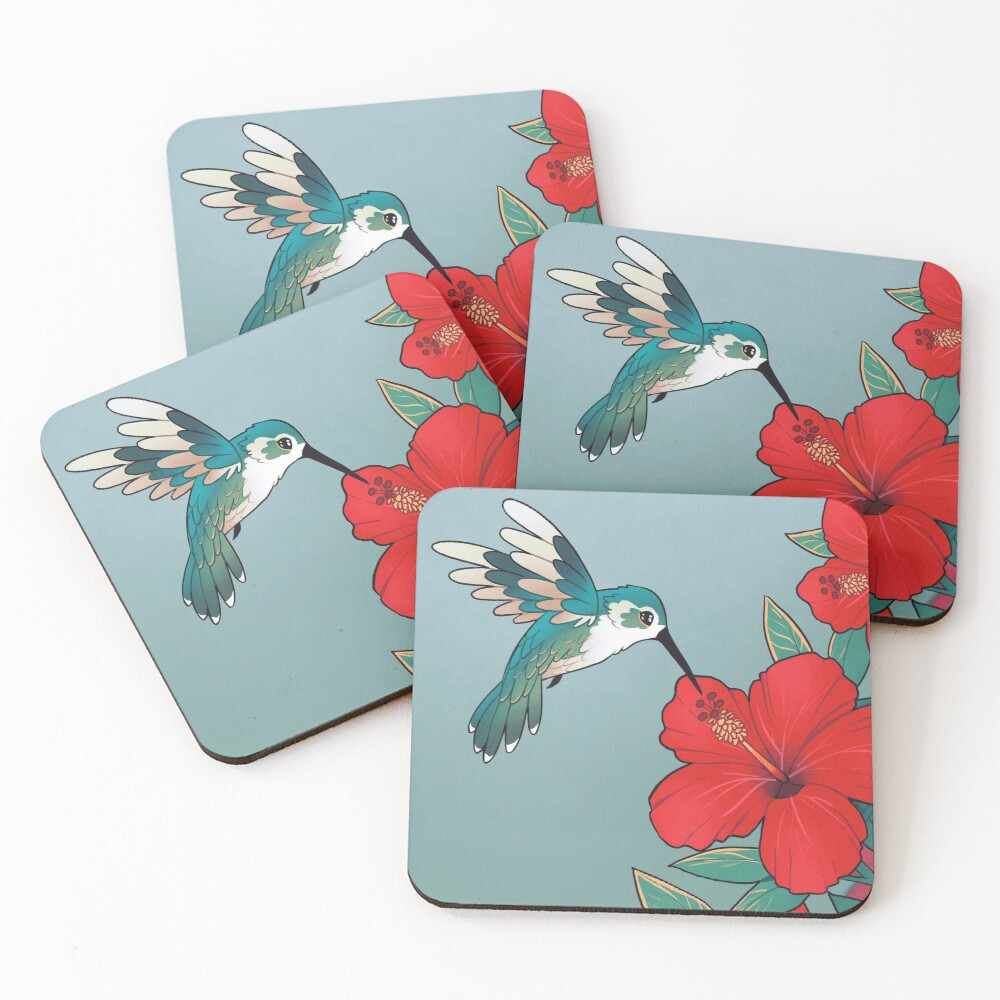 """""""You are worth looking after today"""" Hibiscus Hummingbird Coasters (Set of 4)"""