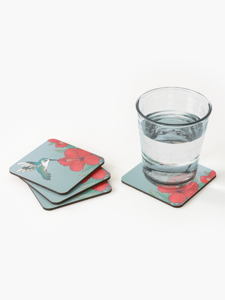"""Alternate view of """"You are worth looking after today"""" Hibiscus Hummingbird Coasters (Set of 4)"""