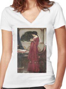 John William Waterhouse - The Crystal Ball . Woman portrait: sensual woman, girly art, female style, pretty women, femine, beautiful dress, cute, creativity, love, sexy lady Women's Fitted V-Neck T-Shirt