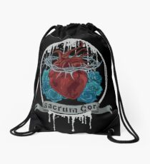 Sacred black heart Drawstring Bag