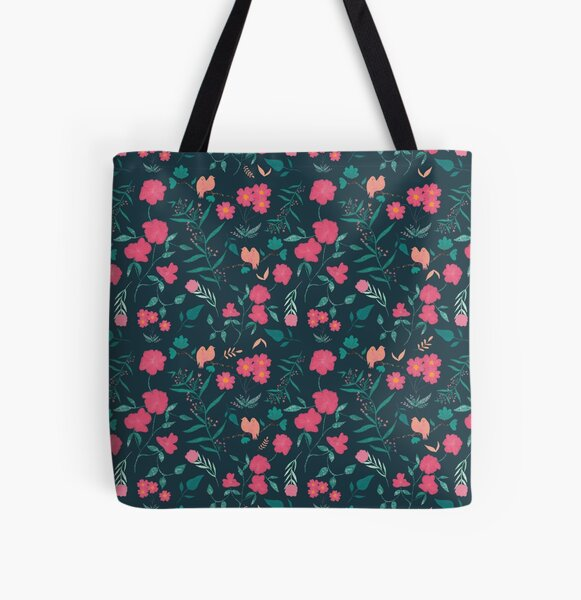 Pink Spring Pattern All Over Print Tote Bag