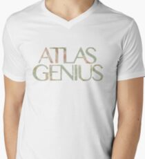 Atlas Genius Vintage Floral Print Mens V-Neck T-Shirt