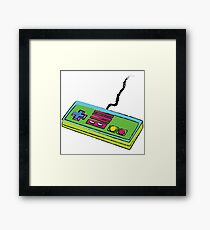 NES Controller Neon 80s Colors Framed Print