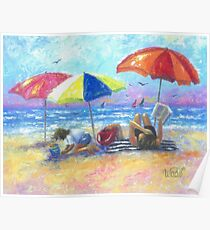 At the Beach With Mom Poster