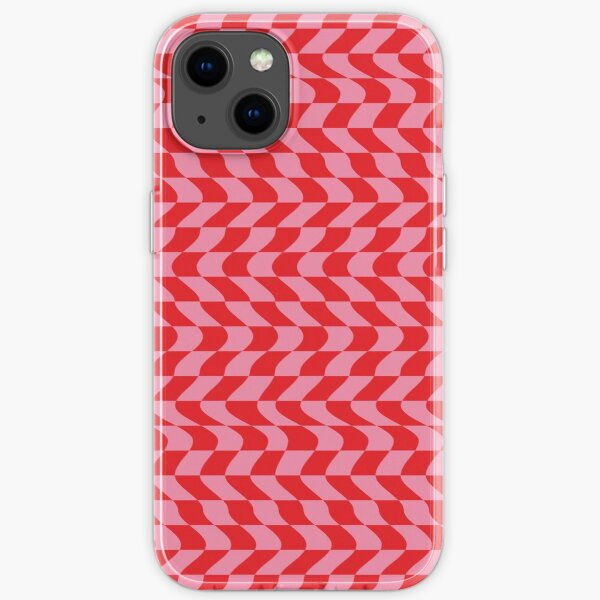 Pink and Red Distorted Checkerboard iPhone Soft Case