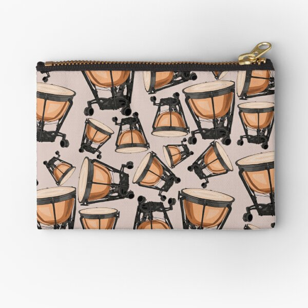 Timpani Musical Instrument Pattern Natural Zipper Pouch