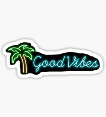 """good vibes"" palm tree neon sign sticker Sticker"