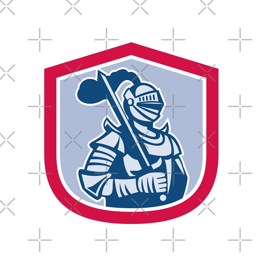 Knight Full Armor With Sword Shield Retro by patrimonio