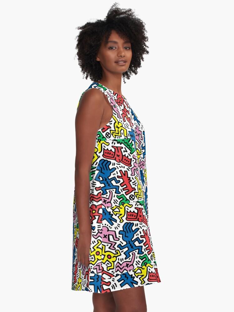 Alternate view of Haring pop art A-Line Dress