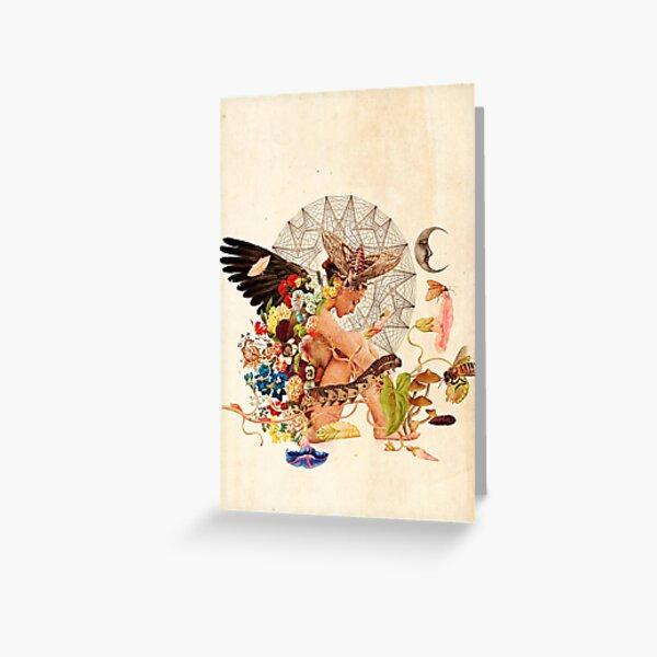 Vintage Flower Angel Surreal Mystical Woman Greeting Card