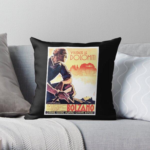 Dolomiti Alps Bolzano Italy Vintage Italian Travel Poster Throw Pillow