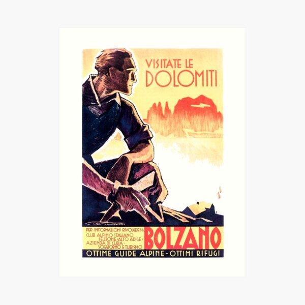 Dolomiti Alps Bolzano Italy Vintage Italian Travel Poster Art Print