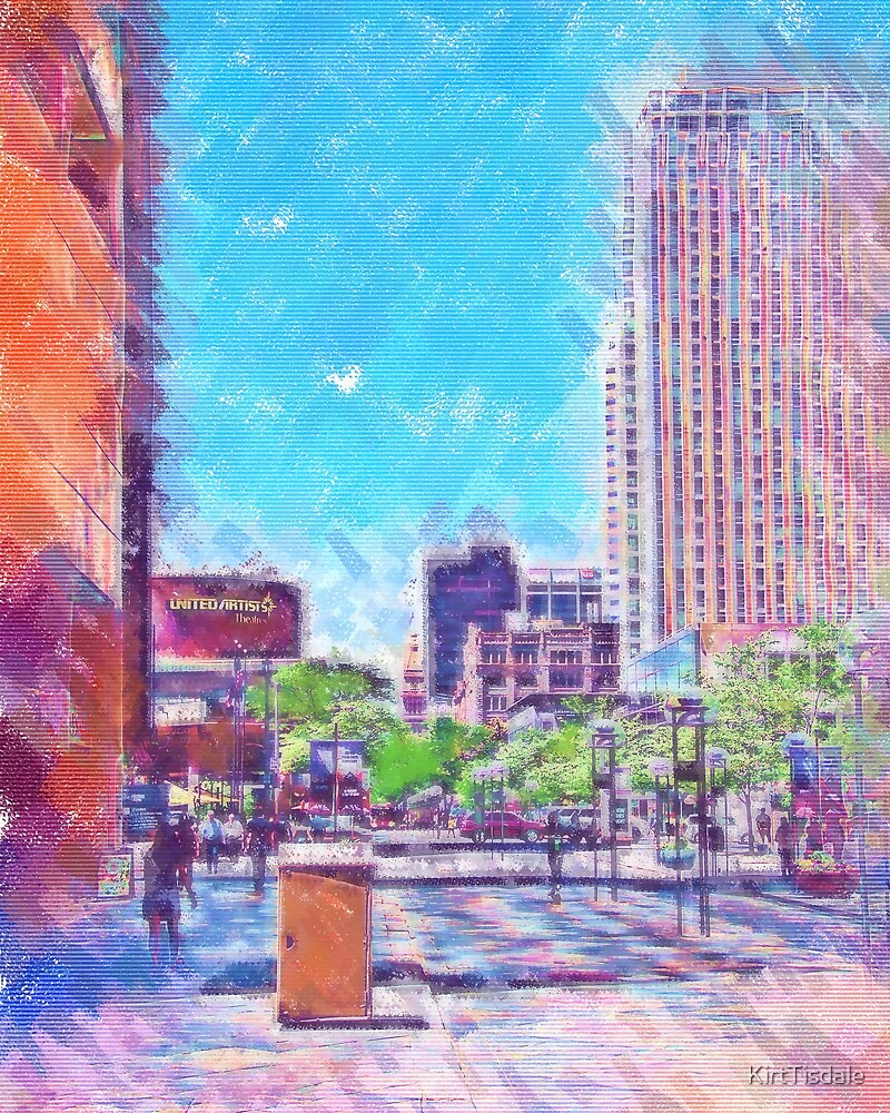 Denver 16th Street Mall In Pastel by KirtTisdale