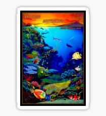 """""""QUEENSLAND AUSTRALIA"""" Great Barrier Reef Travel Print Sticker"""