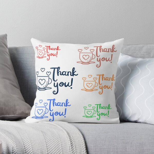 Thank you Stickers pack for customers Throw Pillow