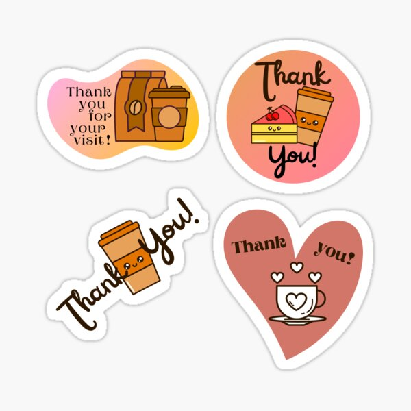 Thank you! Stickers Pack for Coffee Shop Sticker