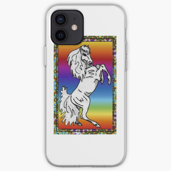 Rearing Filly with Rainbow Background Framed iPhone Soft Case