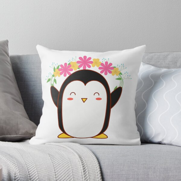 Pretty Penguin Sticker Throw Pillow