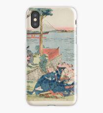 Katsushika Hokusai - Woodcut. geisha portrait : geisha, samurai, clothes,  costume, love relations,  hairstyle, traditional costume, traditional dress, traditional dress, river, mount iPhone Case/Skin
