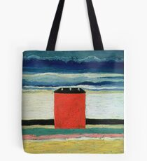 Kazimir Malevich - Red House. Abstract painting:  beach, building, sea,  house, horizon,  water, creative fusion, spot, shape, illusion, fantasy future Tote Bag