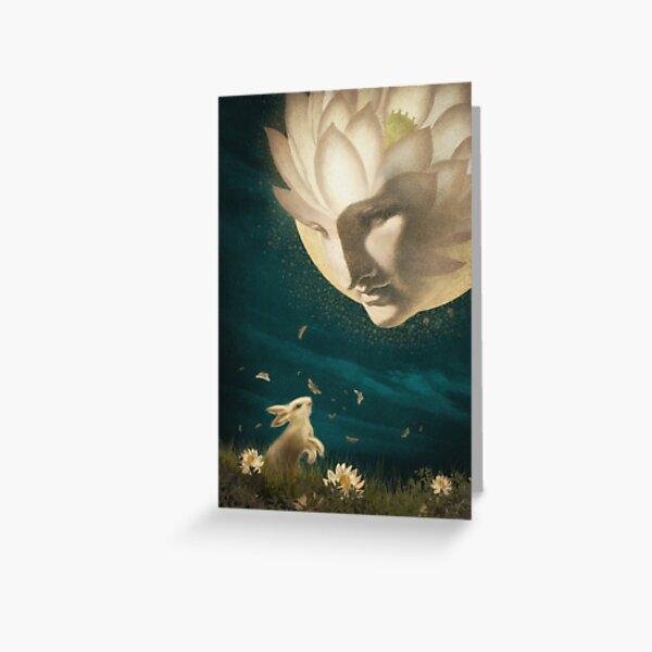 Rabbit and Moon Greeting Card