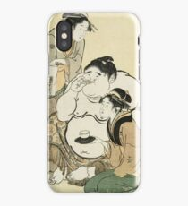 Kitagawa Utamaro - Daidozan Bungoro, The Infant Prodigy Drinking Sake. People portrait: party, woman and man,  Samurai, geisha , female and male,  women and men, people, beautiful dress iPhone Case/Skin