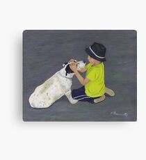 Little Boy and Bull Terrier Dog Canvas Print