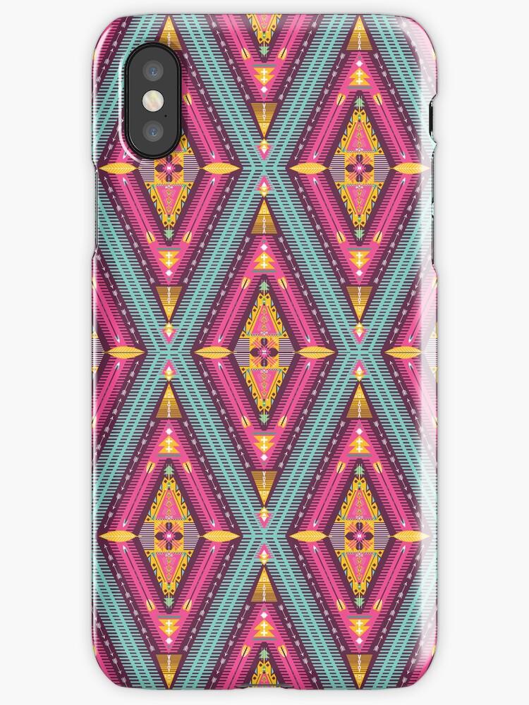 Aztec geometric colorful pattern by Olena Syerozhym