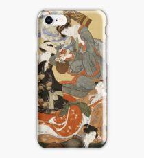 Katsushika Hokusai - Five Beautiful Women. Geisha portrait: Geisha, japanese, courtesan, pretty women, femine, beautiful dress, sleeping, asleep, love, sexy lady, erotic pose iPhone Case/Skin