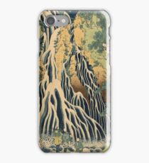 Katsushika Hokusai - Kirifuri Waterfall On Mount Kurokami In Shimotsuke Province . Kirifuri Waterfall landscape: trees,  Waterfall, cascade, riverside, fall, sun and clouds, nautical panorama iPhone Case/Skin