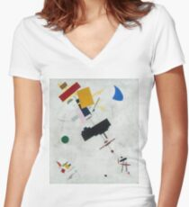 Kazimir Malevich - Suprematism. Abstract painting: abstract art, geometric, expressionism, composition, lines, forms, creative fusion, spot, shape, illusion, fantasy future Women's Fitted V-Neck T-Shirt