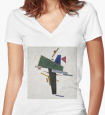 Kazimir Malevich - Untitled. Abstract painting: abstract art, geometric, expressionism, composition, lines, forms, creative fusion, spot, shape, illusion, fantasy future Women's Fitted V-Neck T-Shirt