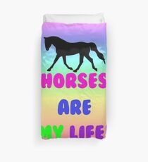 Colorful Horses Are My Life  Duvet Cover